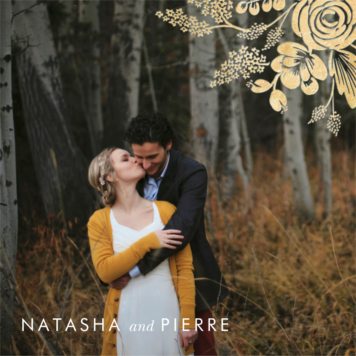 Heather and Lace (Photo Announcement) - Gold - Rifle Paper Co. - Wedding