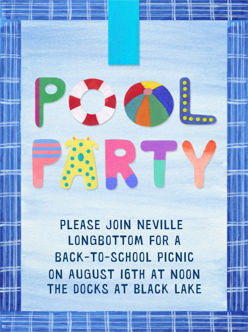 Pool Party - Paperless Post - Back-to-school