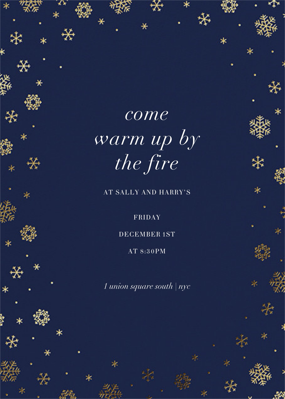 White Out (Tall) - Navy/Gold - Paperless Post - Winter entertaining