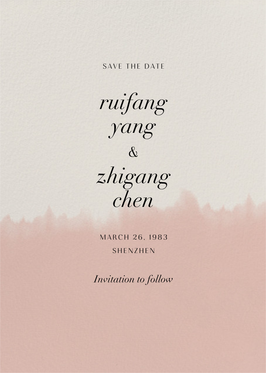 Dip Dye - Antique Pink - Paperless Post - Save the date