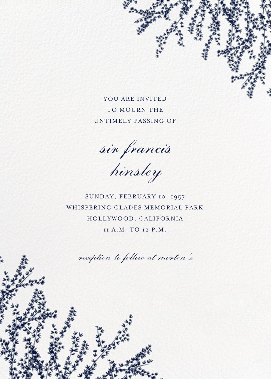 Forsythia (Invitation) - Navy - Paperless Post - Memorial service