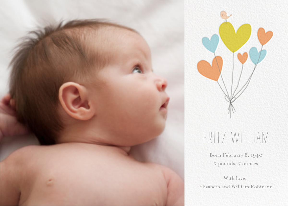 Birdie's Balloons (Photo) - Blue - Little Cube - Baby boy announcements