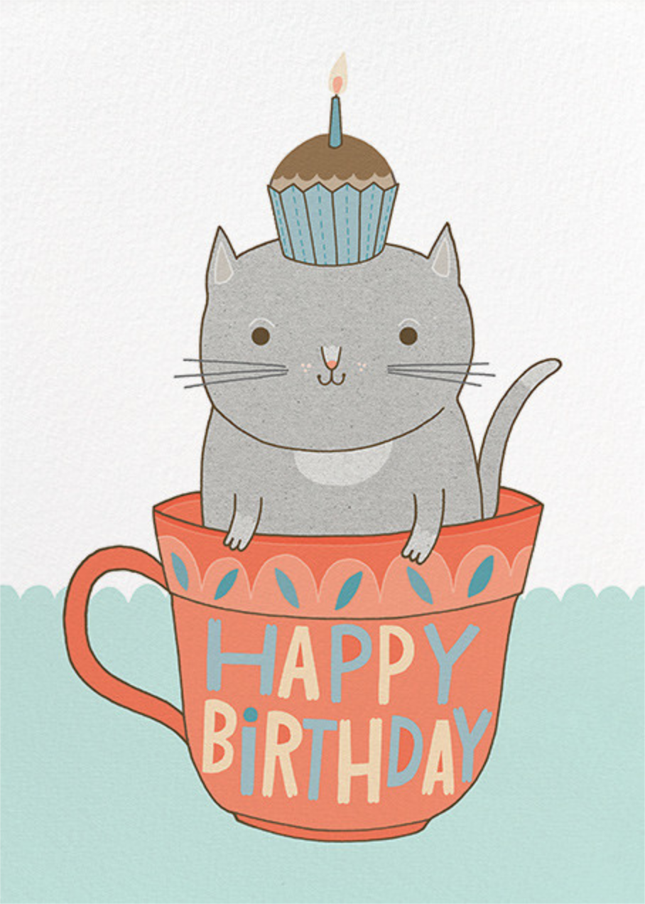 Teacup Cat (Anke Weckmann) - Red Cap Cards - Birthday