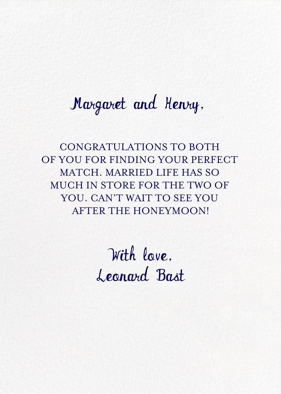 Going to the Chapel - Mr. Boddington's Studio - Congratulations - card back