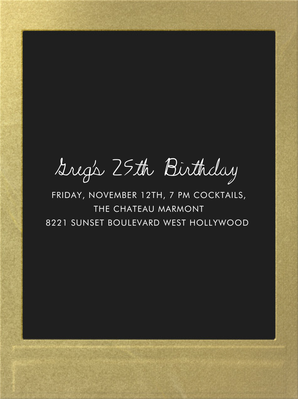 Snapshot Gold (Double Sided) - Tall - Paperless Post - Cocktail party - card back