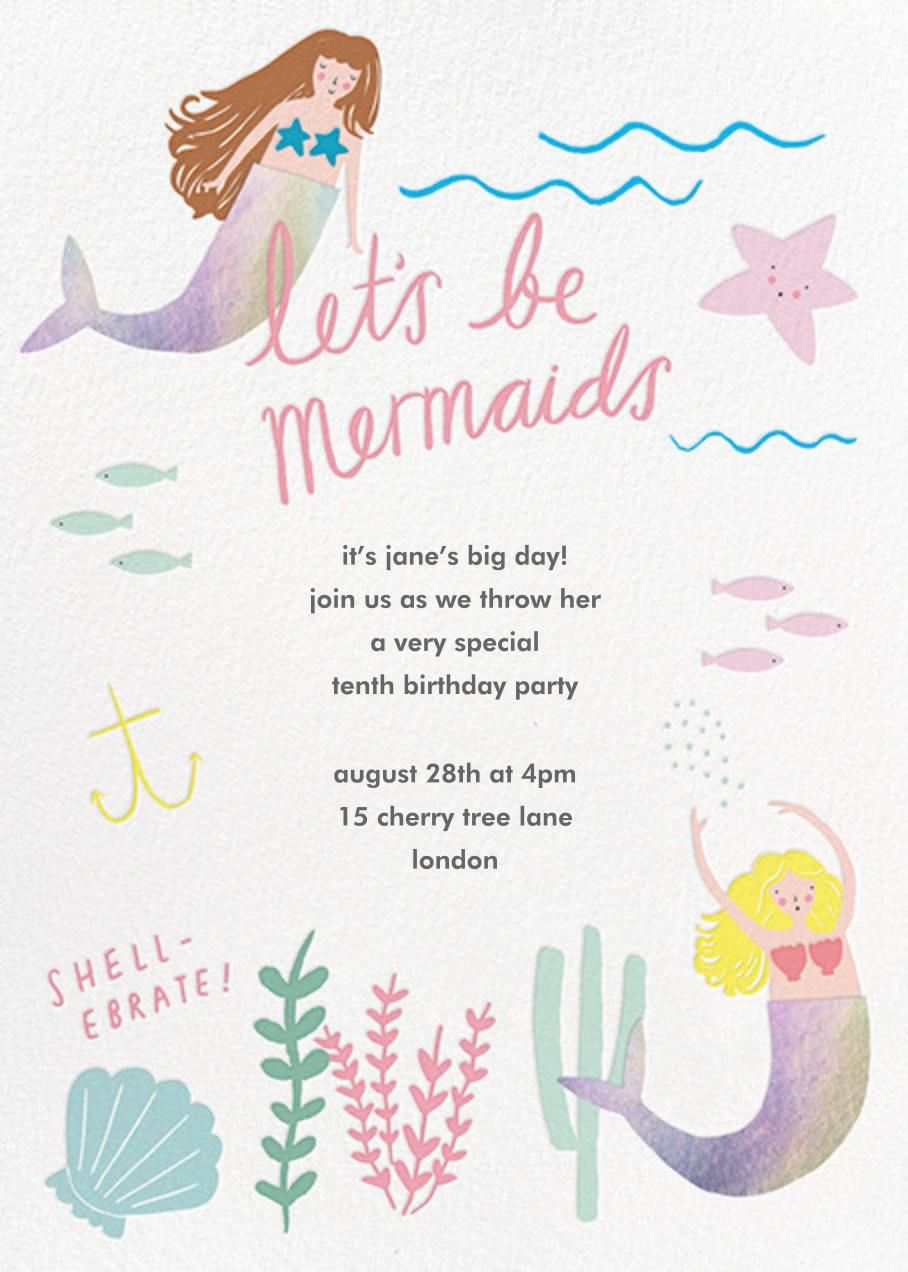 Mermaids in Waiting - Meringue - Meri Meri - Mermaid birthday invitations
