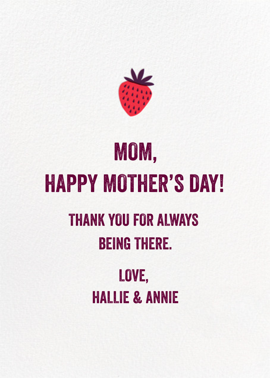 One Sweet Mama - Hello!Lucky - Mother's Day - card back