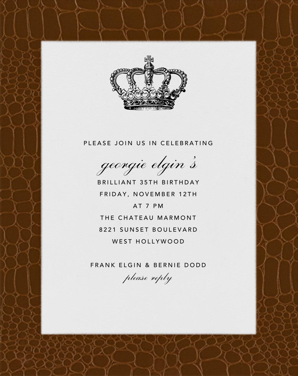 Croc Border - Walnut - Paperless Post - Adult birthday
