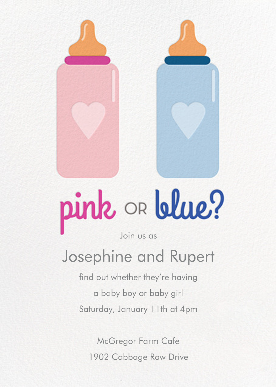Pink or Blue - Paper Source - Printable invitations