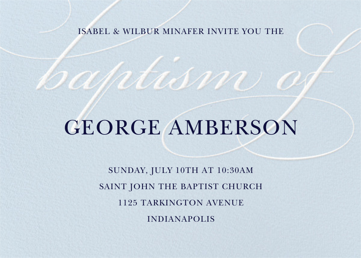 Script Baptism - Light Blue - Paper Source - Printable invitations