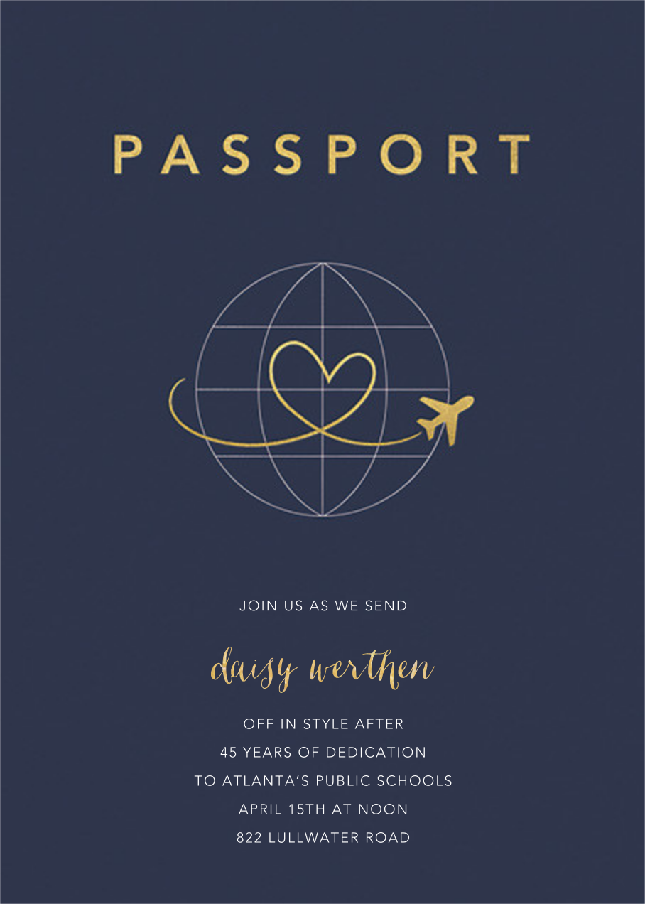 Passport to Romance - Paperless Post - Farewell party