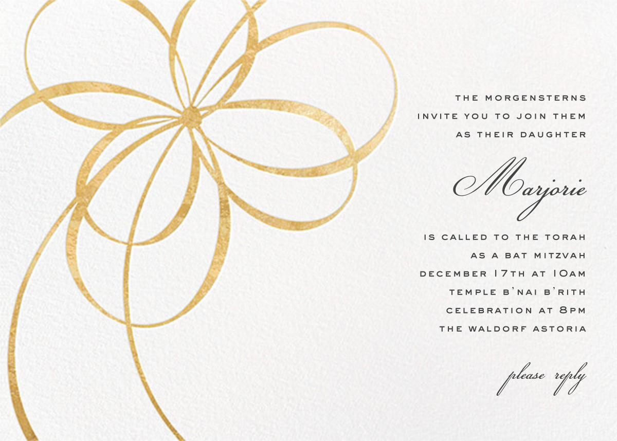 Belle Boulevard (Invitation) - Gold - kate spade new york - Bar and bat mitzvah