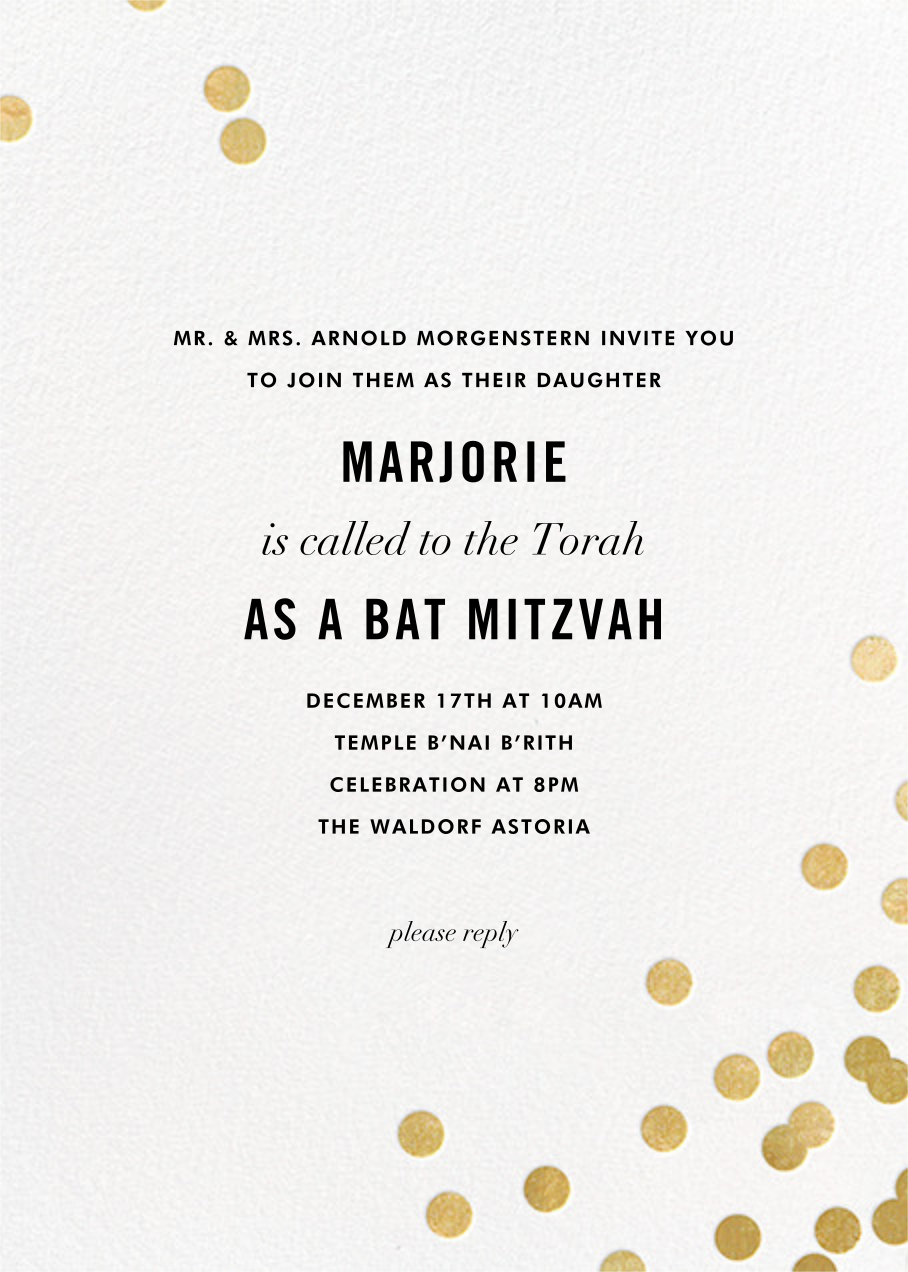 Confetti - White/Gold - kate spade new york - Bat and bar mitzvah