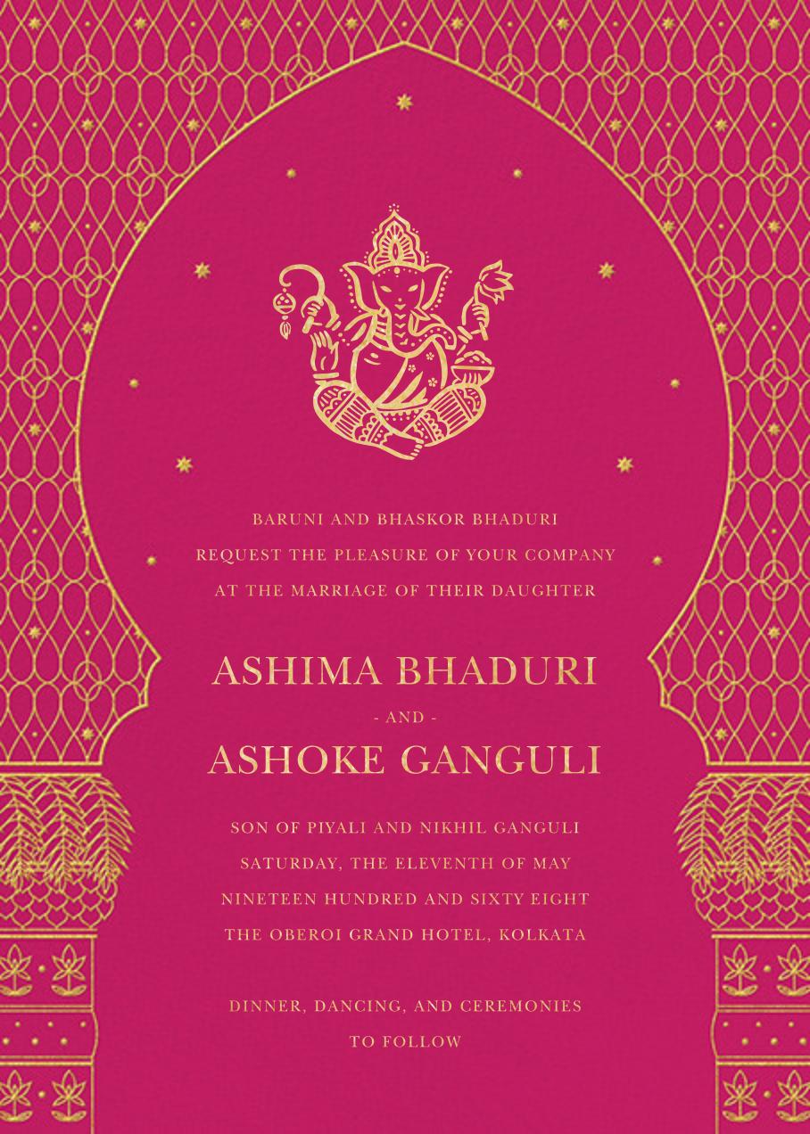 Vinayanka (Invitation) - Bright Pink - Paperless Post - All