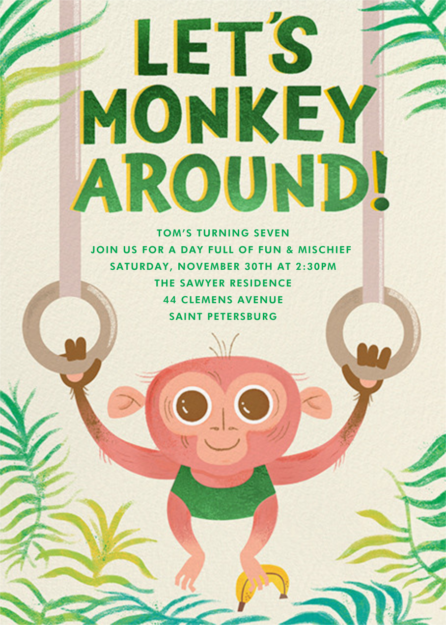 Monkey Mischief - Paperless Post - Kids' birthday
