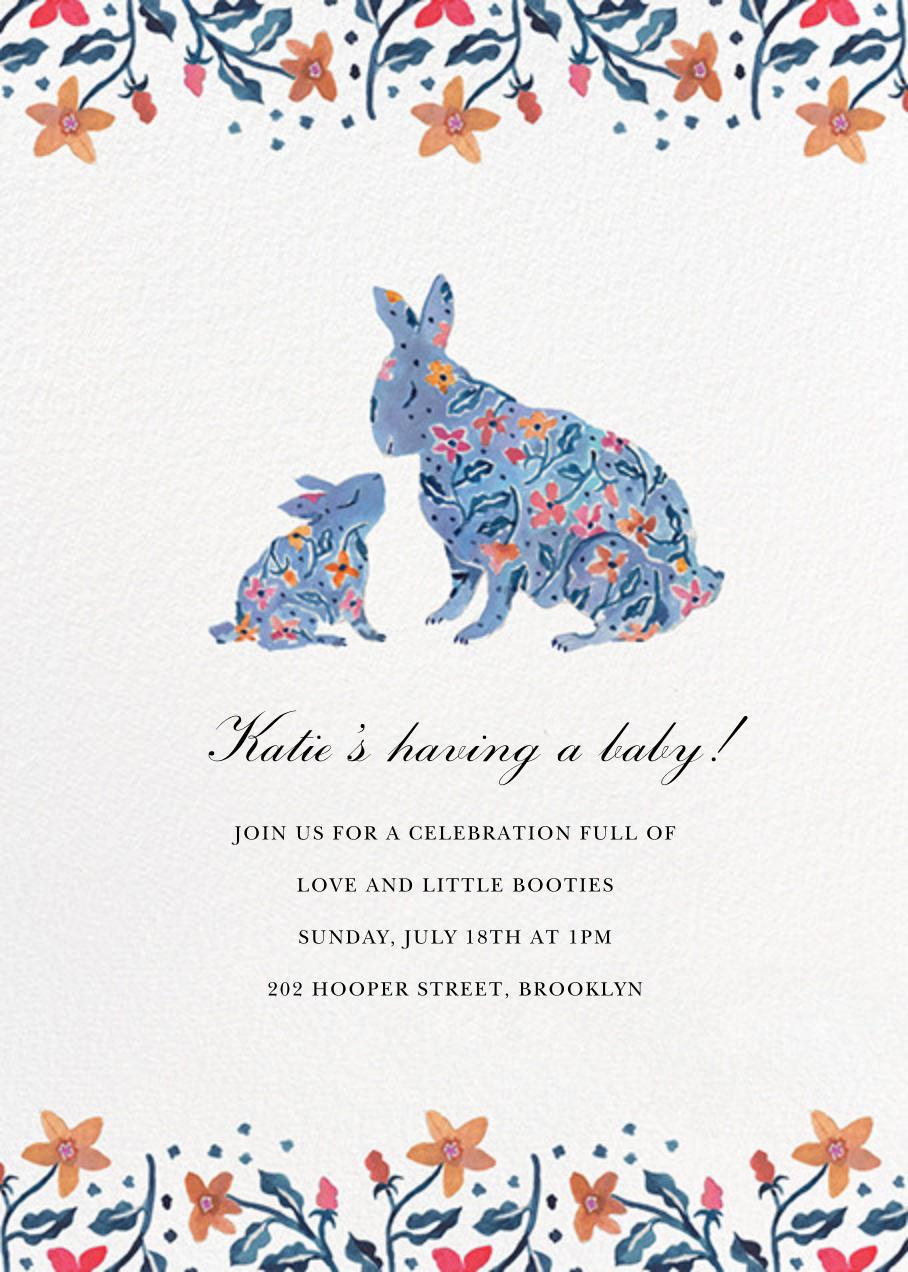 Budding Bunnies - Happy Menocal - Woodland baby shower invitations