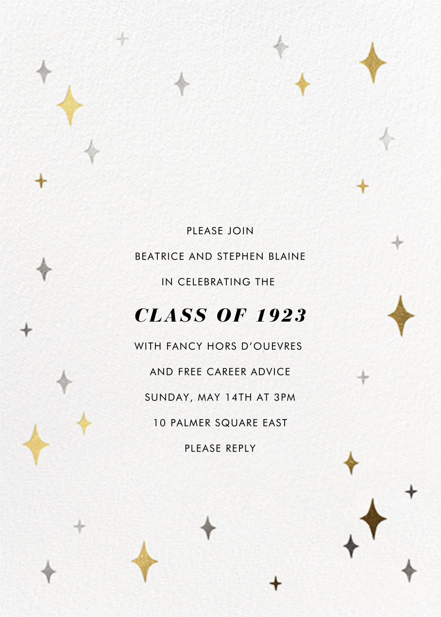 Space Age Stars Photo - Paperless Post - Graduation party - card back
