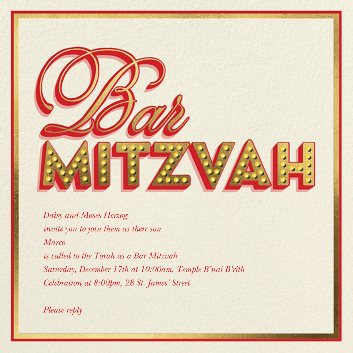 Mitzvah Marquee - Bar - Paperless Post