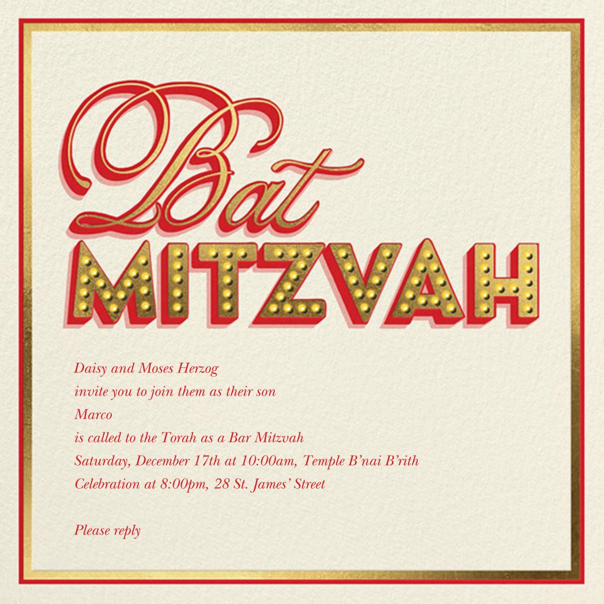Mitzvah Marquee - Bat - Paperless Post