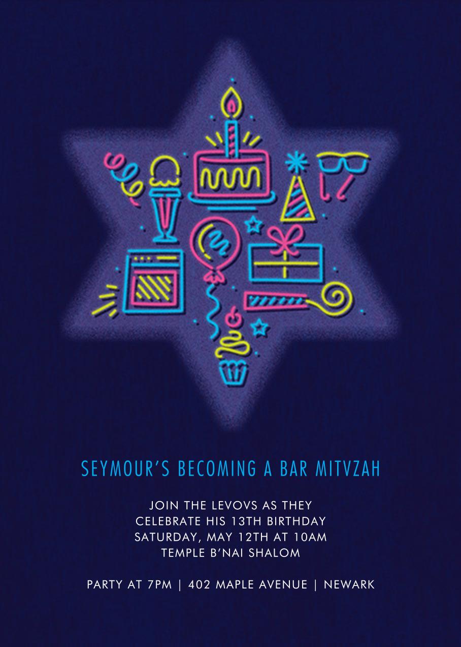 Bar Neon - Paperless Post - Bar and bat mitzvah
