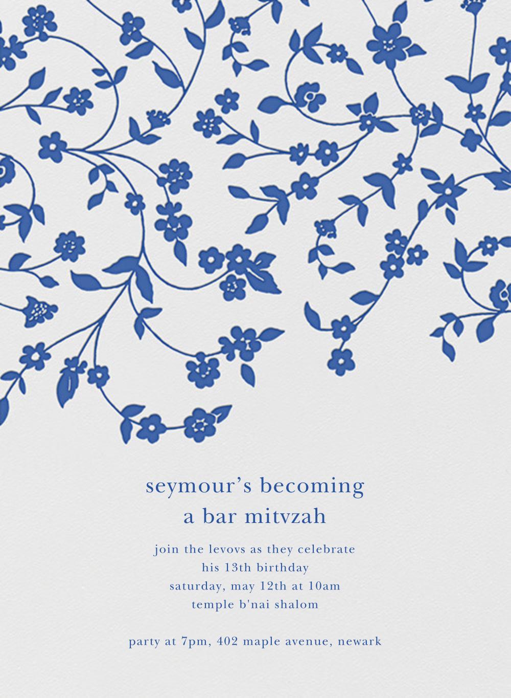Floral Trellis I - Regent Blue - Oscar de la Renta - Bat and bar mitzvah
