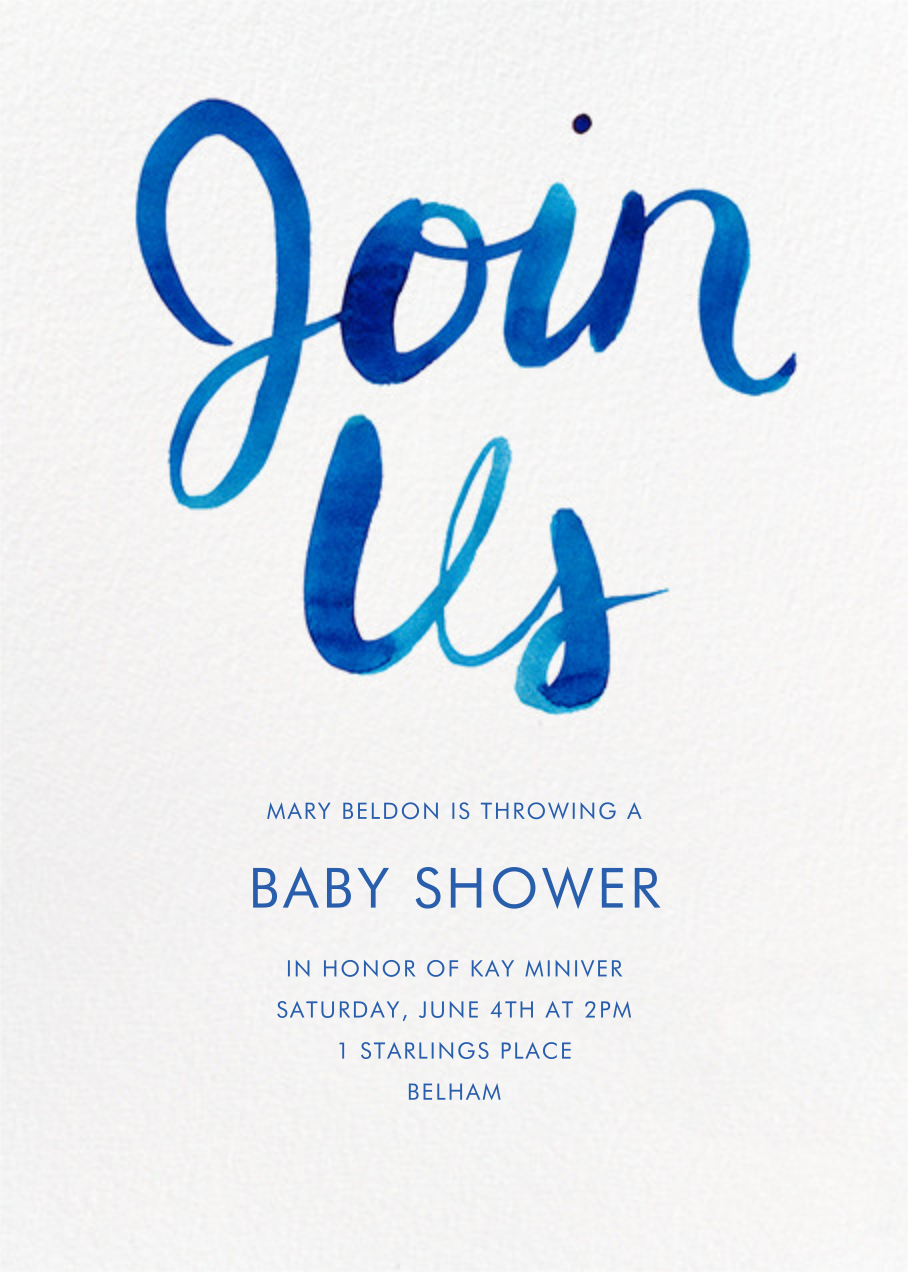 Join Us - Blue - Linda and Harriett - Baby shower