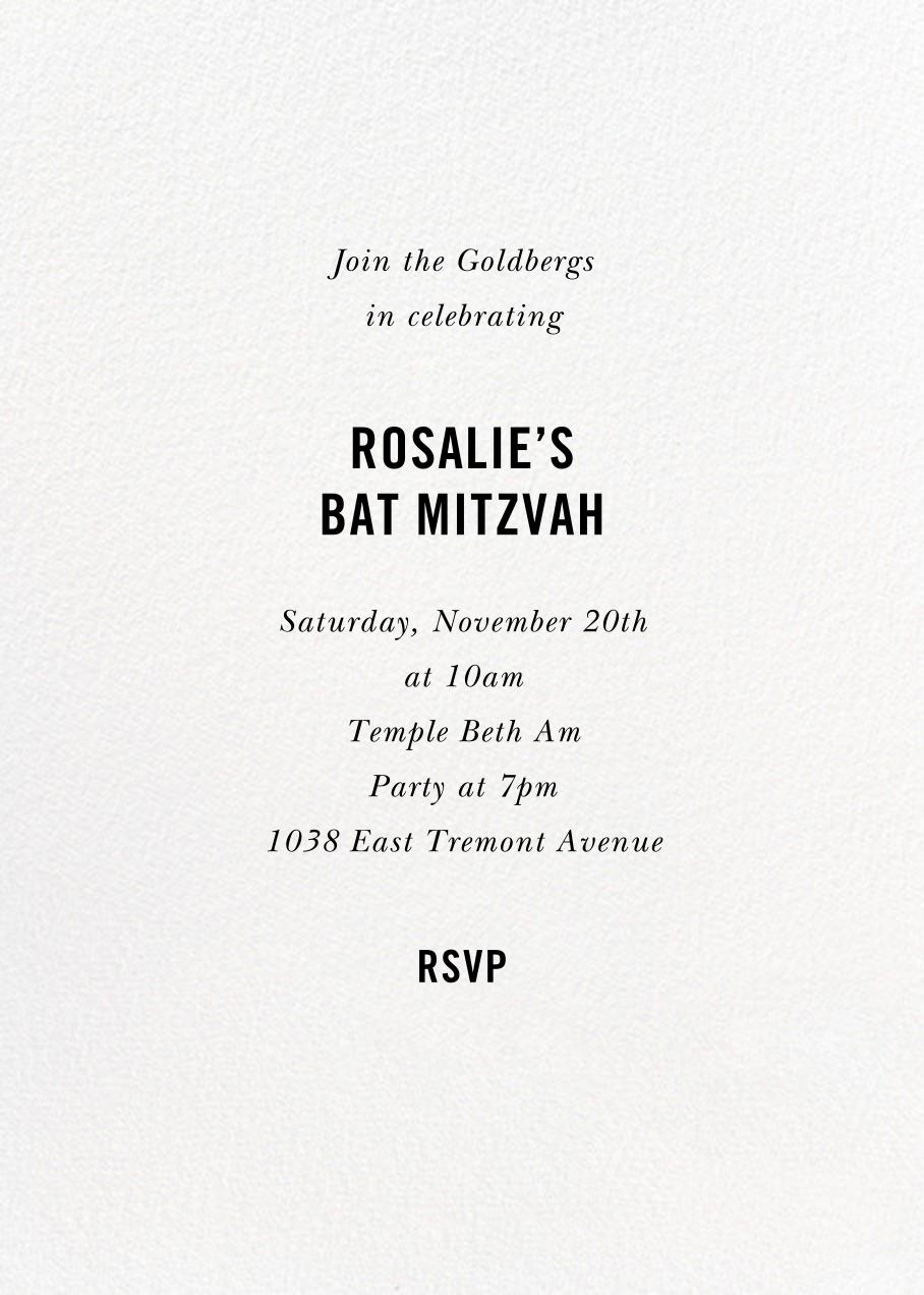 Bat Mitzvah Baronial - kate spade new york - Bar and bat mitzvah - card back