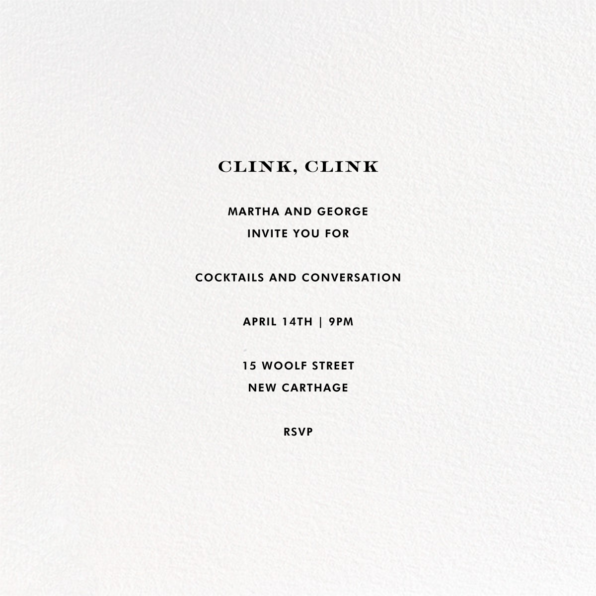 Pop Fizz Clink (Square) - White/Gold  - kate spade new york - Cocktail party - card back