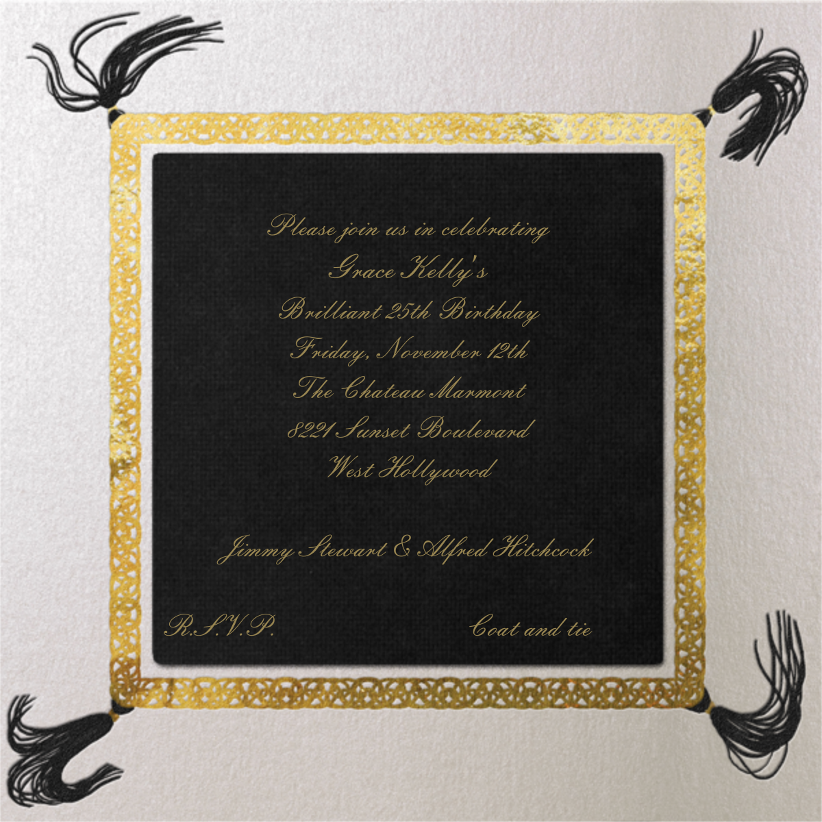 Gold Braid (Pitch) - Paperless Post - Adult birthday