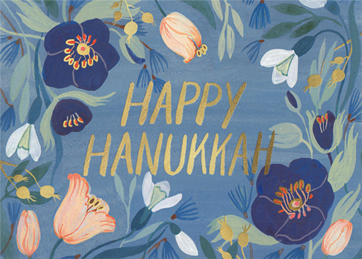 Hanukkah Flowers (Kelsey Garrity Riley) - Red Cap Cards - Hanukkah