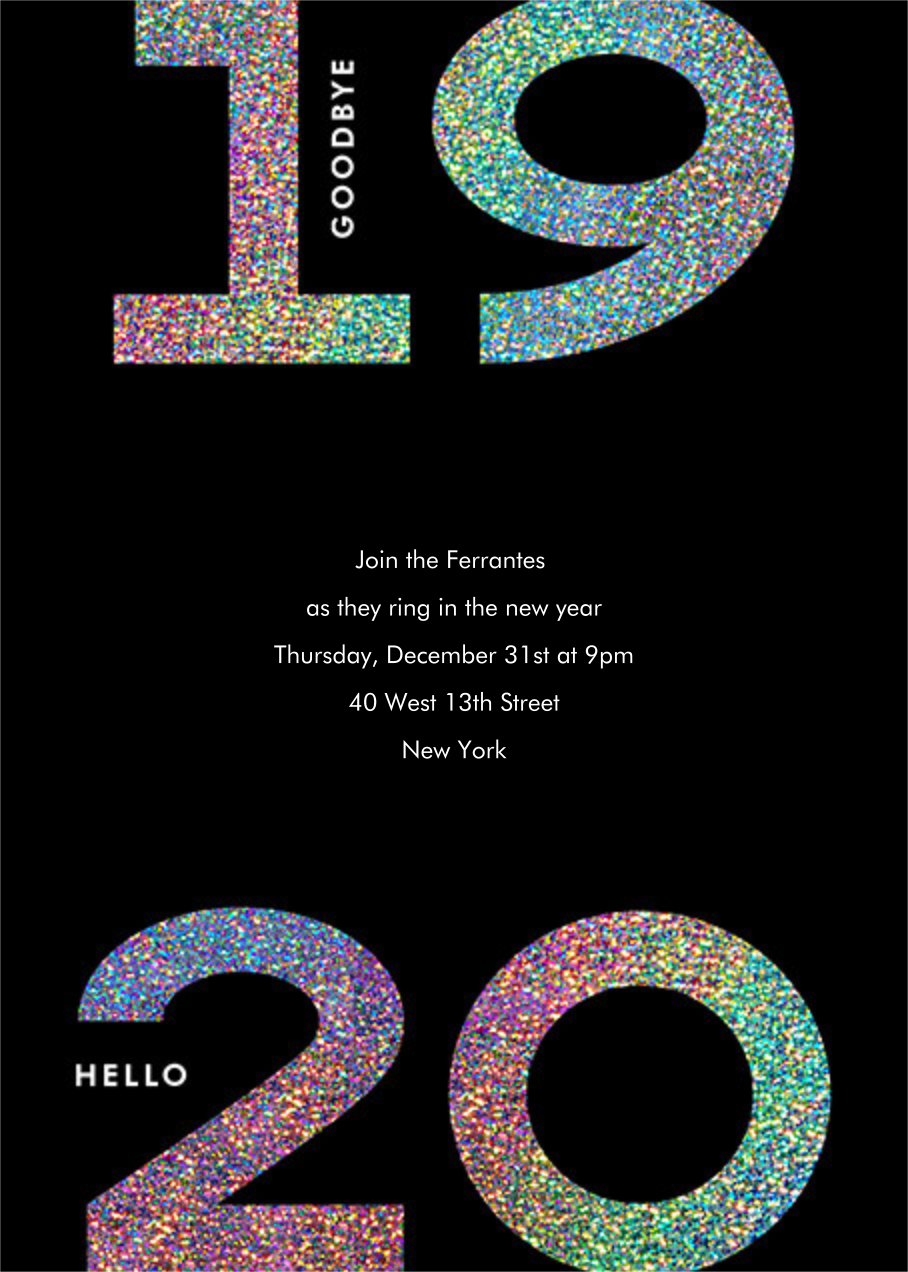 Glitter Goodbye 2020 - Paperless Post - New Year's Eve