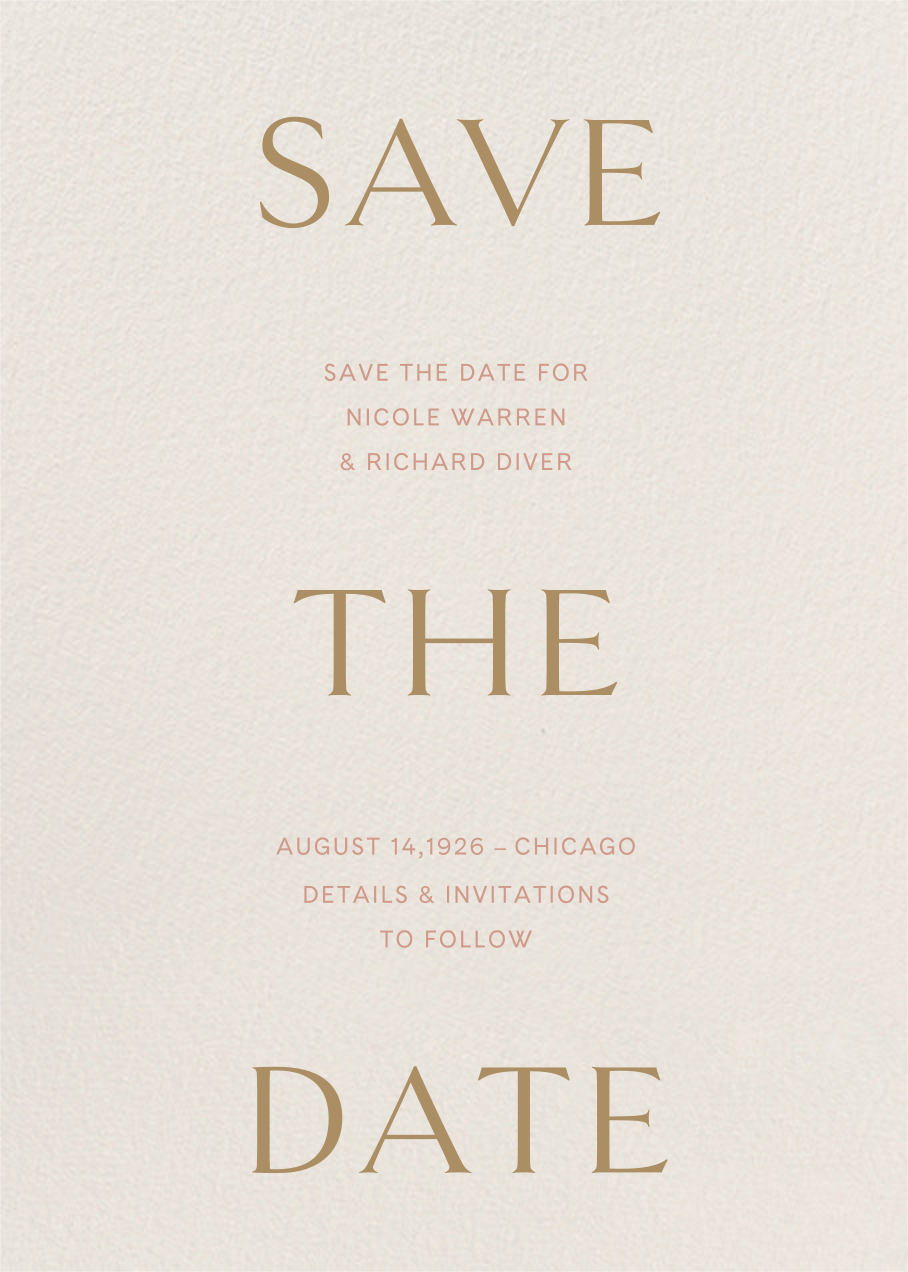 Primo (Save the Date) - Cream - Venamour - Save the date
