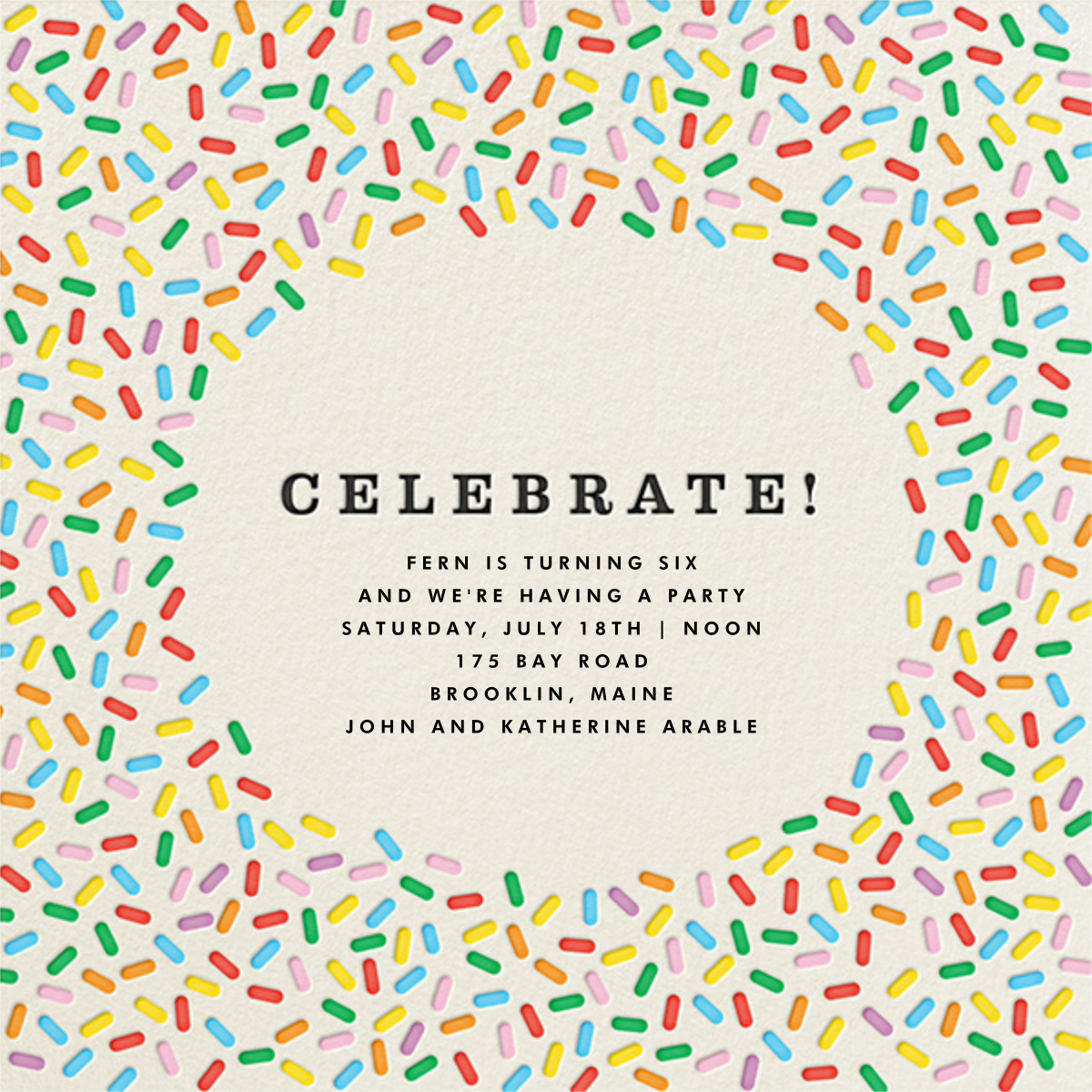 Sprinkles - Celebrate  - The Indigo Bunting - Rainbow invitations