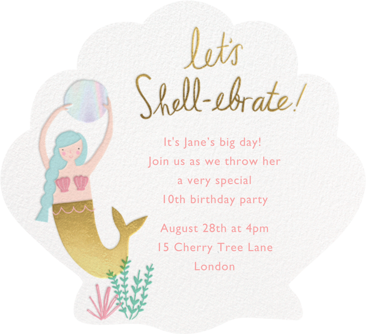 Let's Shellebrate - Meringue - Meri Meri - Kids' birthday - card back