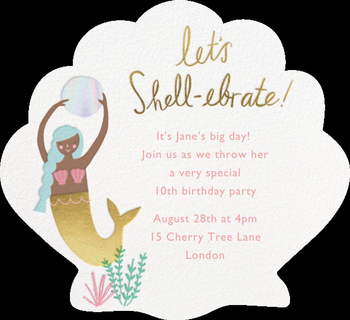 Let's Shellebrate - Mocha - Meri Meri - Kids' birthday - card back