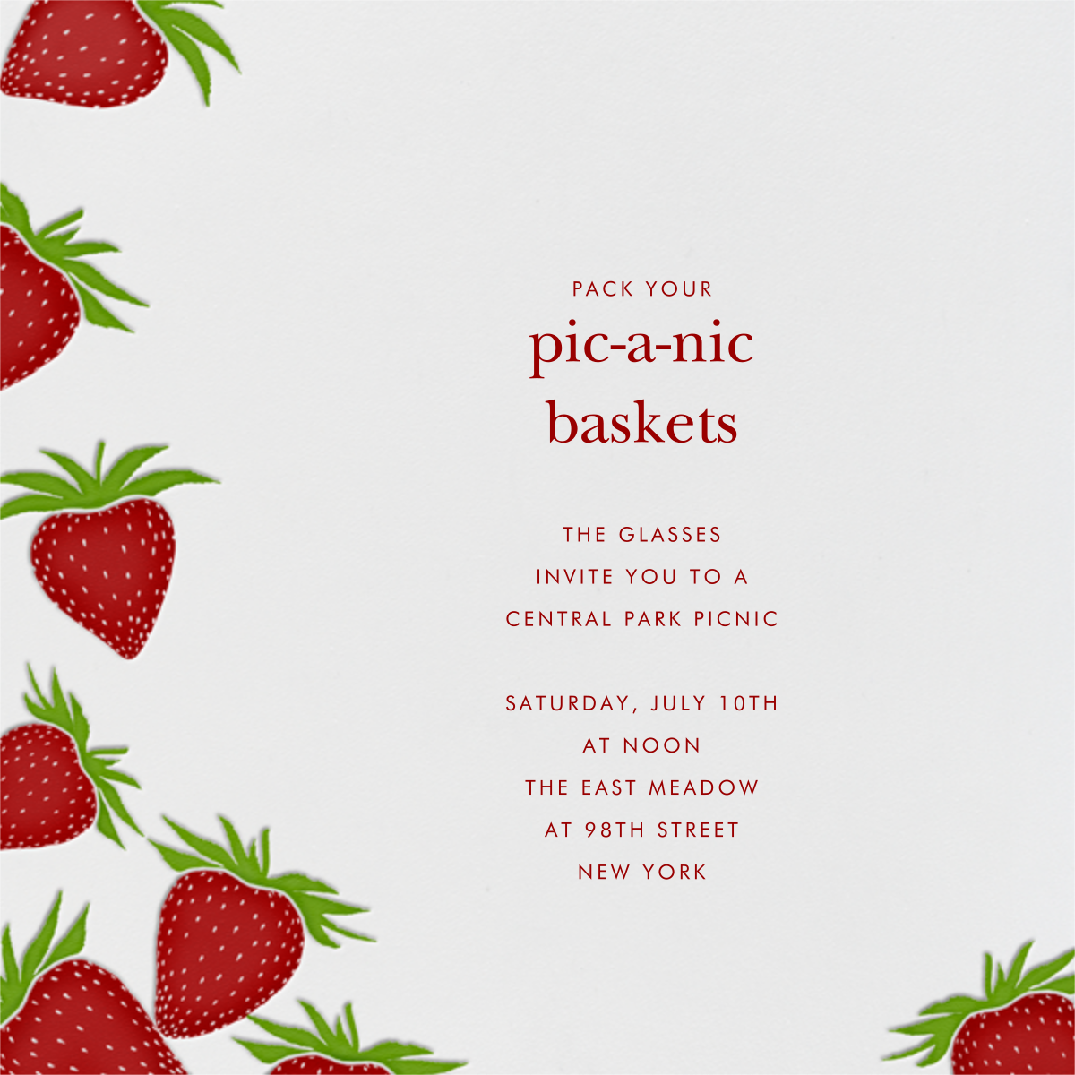 Strawberries (Square) - Paperless Post - Summer parties