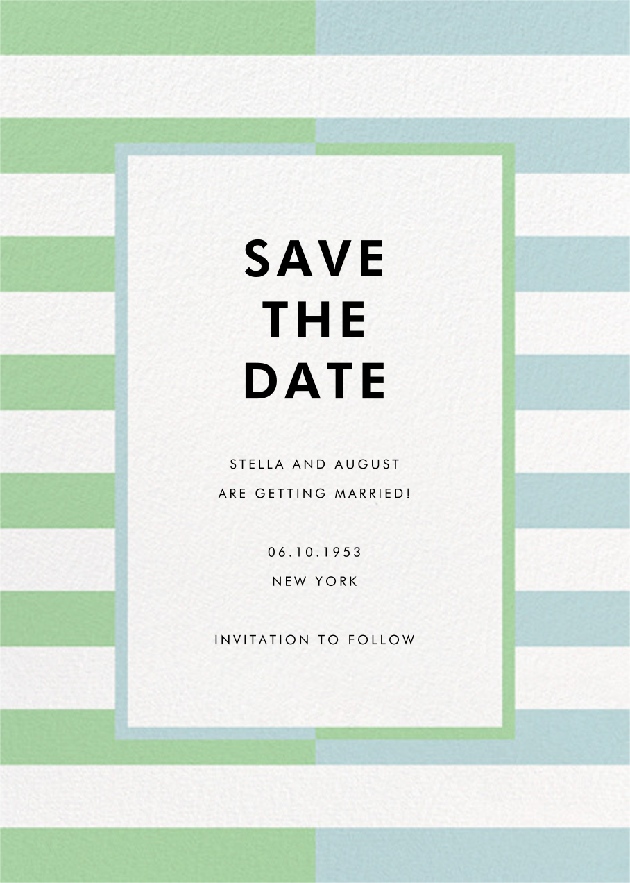 Colorblocked Stripes - Green/Blue - kate spade new york - Save the date