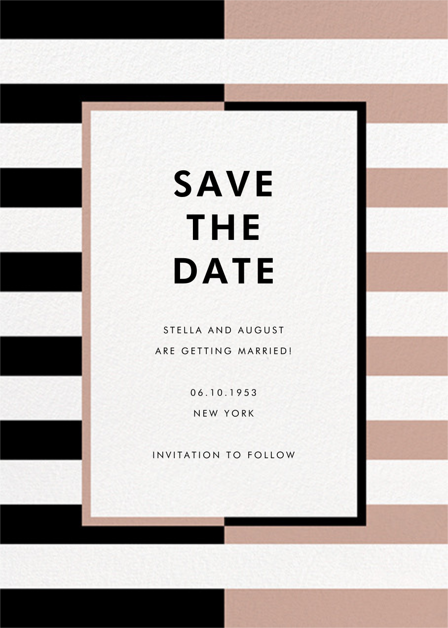 Colorblocked Stripes - Black/Rose - kate spade new york - Save the date