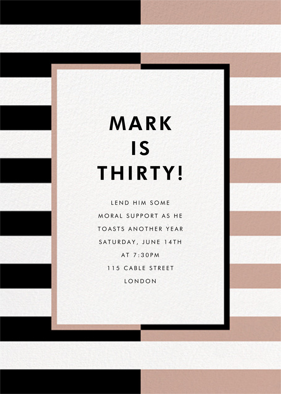 Colorblocked Stripes - Black/Rose - kate spade new york - Adult birthday