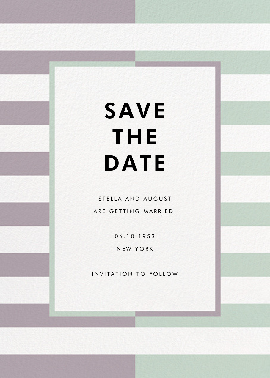 Colorblocked Stripes - Lilac/Mint - kate spade new york - Save the date