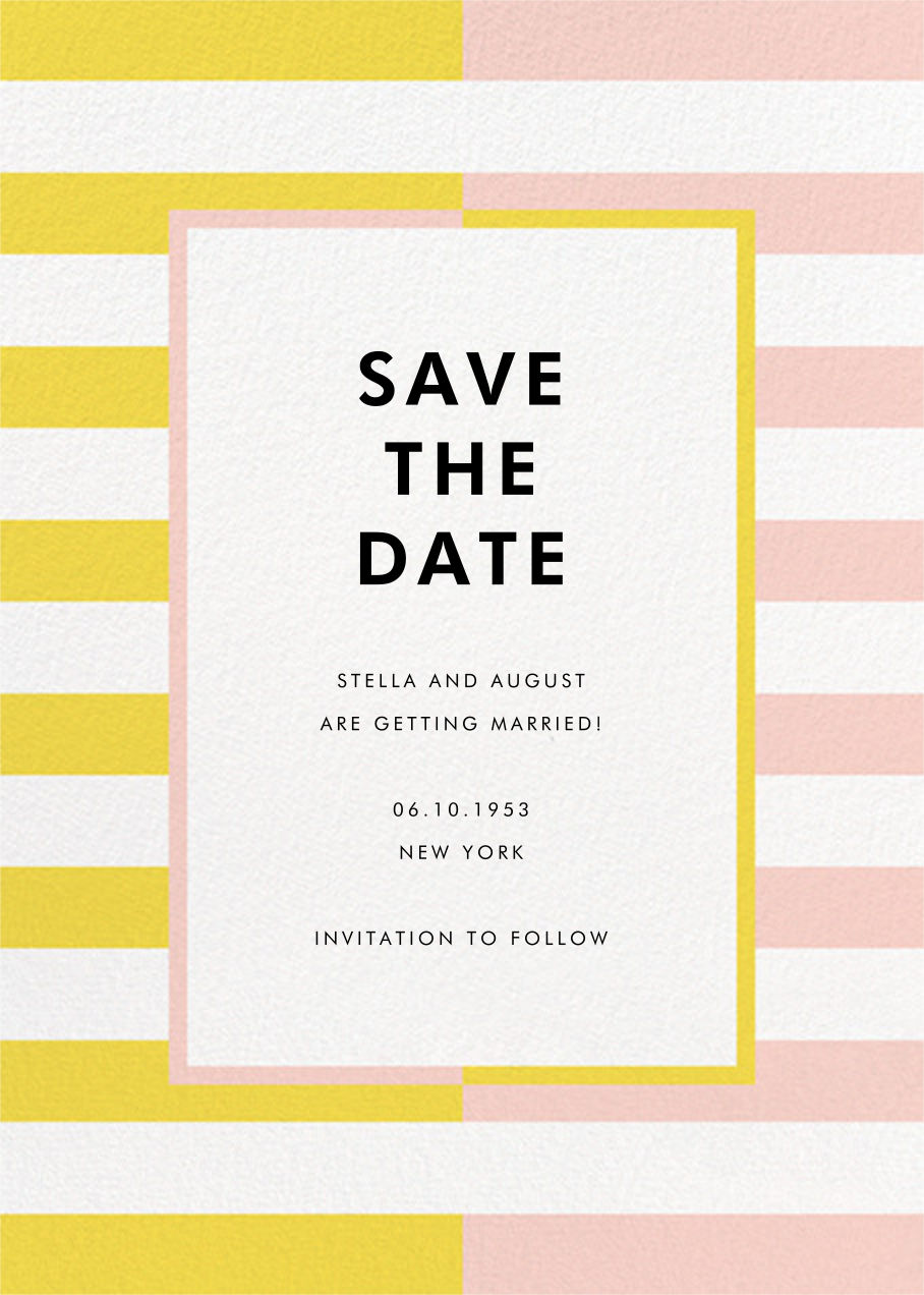 Colorblocked Stripes - Yellow/Pavlova - kate spade new york - Save the date