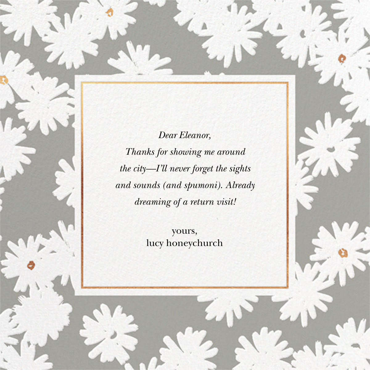 Embossed Daisies - Charcoal - kate spade new york - Thank you