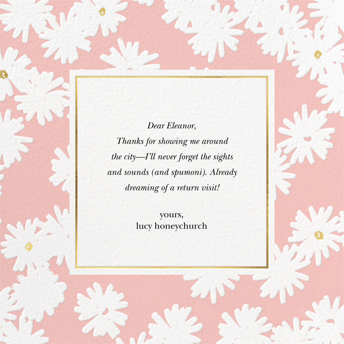 Embossed Daisies - Pavlova - kate spade new york - Thank you