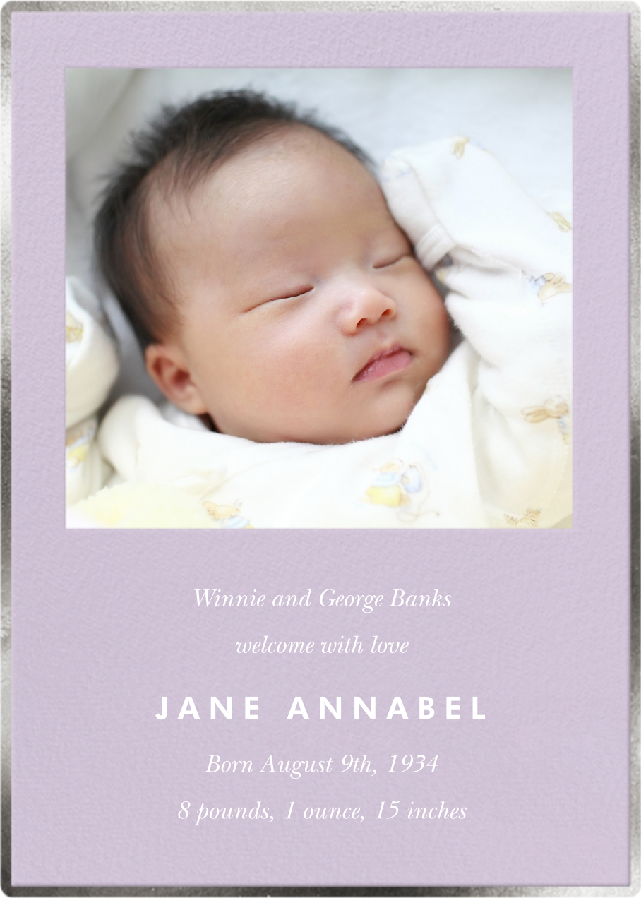 Happy to See You Photo - Lilac - kate spade new york - Birth - card back
