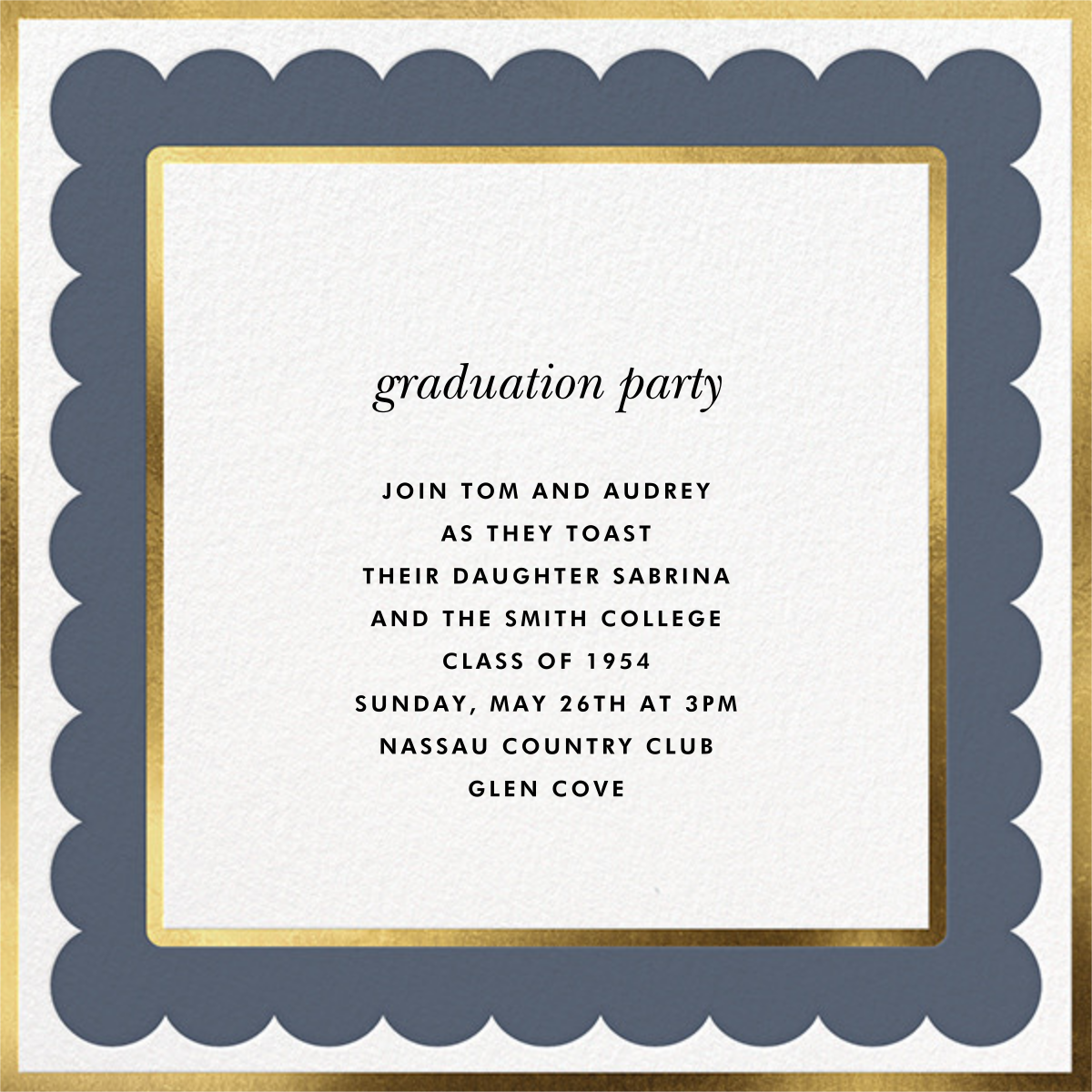 Scalloped Border - Cadet - kate spade new york - Graduation party