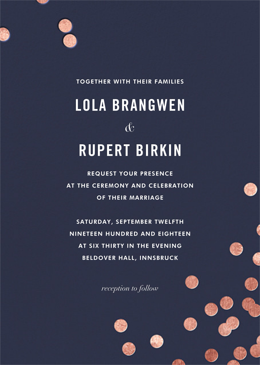 Confetti (Invitation) - Navy/Rose Gold - kate spade new york - All