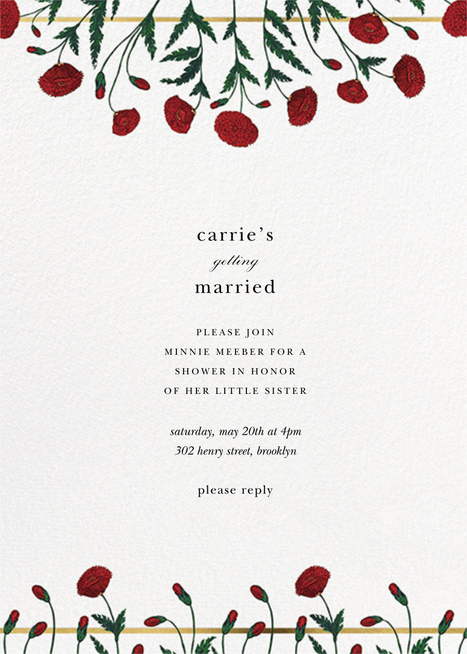 Pressed Poppies - Oscar de la Renta - Bridal shower