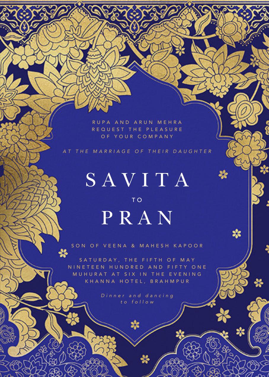 Sanganeri (Invitation) - Indigo - Paperless Post - Indian