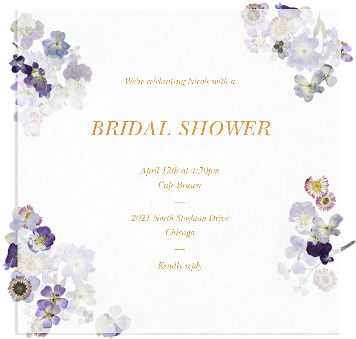 Pressed in Vellum - Paperless Post - Bridal shower