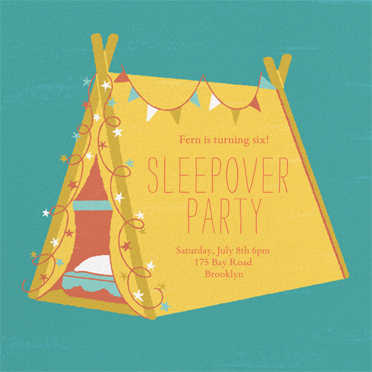 Sleepover Camp - Mustard - Paperless Post - Kids' birthday